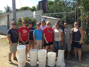 Team with clean water filters